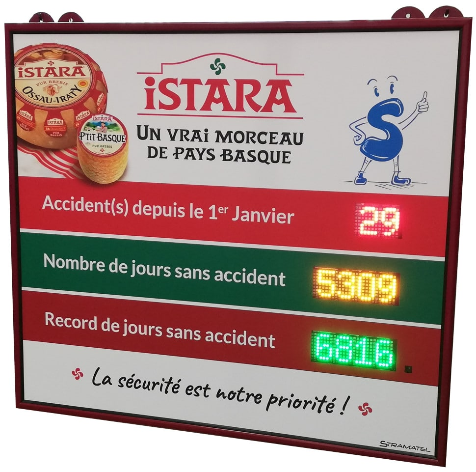 afficheur nombre de jours sans accident led stramatel fromagerie istara groupe lactalis larceveau